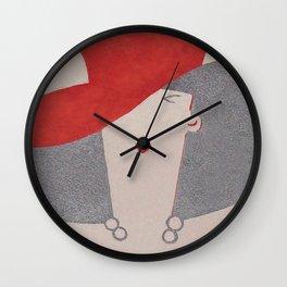 Art Deco Lady Wearing Red Hat Wall Clock