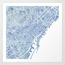 Barcelona Blueprint Watercolor City Map Art Print