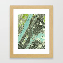Vintage Central Park & Bronx NY Map (1947) Framed Art Print