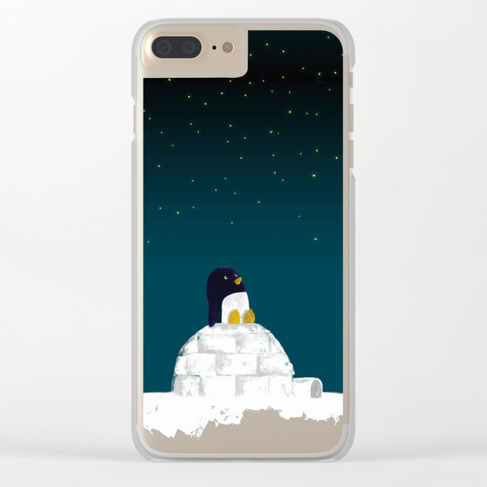 Star gazing - Penguin's dream of flying Clear iPhone Case