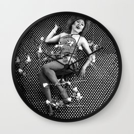 Sassy Ross: Private Dancer with Roses (Black and white edition) Wall Clock