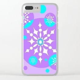 A Lavender and Aqua Snowflake Design Clear iPhone Case