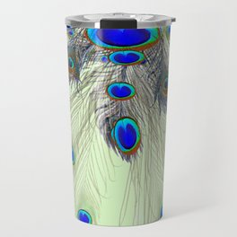 DECORATIVE BLUE GREEN PEACOCK FEATHER & JEWELS #3 PATTERN Travel Mug