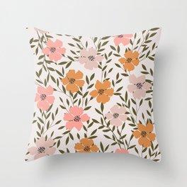 70s Floral Theme Throw Pillow