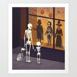 Skeletons at Halloween Art Print