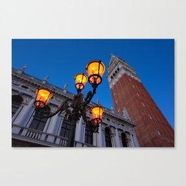 Morning at San Marco square. Campanile San Marco, Biblioteca Nazionale Marciana. Canvas Print