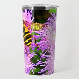 Bee on Ageratum Travel Mug