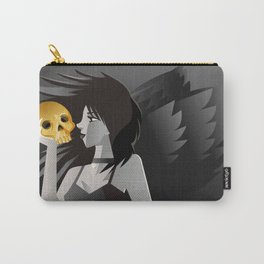 dark gothic death girl winged angel holding a golden skull Carry-All Pouch