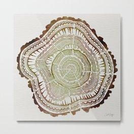 Tree Rings – Watercolor Ombre Metal Print