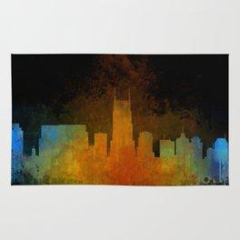 Nashville city skyline Tennessee watercolor v4 Dak Rug