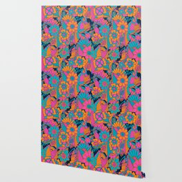 Abstract Floral Pattern Wallpaper