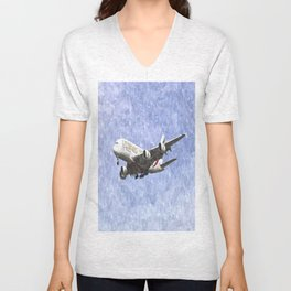 Emirates A380 Airbus Watercolour Unisex V-Neck