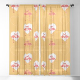 lovebirds - flamingos in love Sheer Curtain