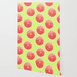 Pink Grapefruit Slices Pattern Wallpaper