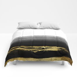 Black & Gold Stripes on White- Mix & Match with Simplicty of life Comforters