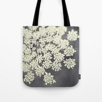 flower Tote Bags featuring Black and White Queen Annes Lace by Erin Johnson
