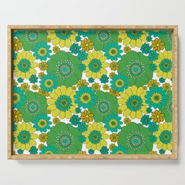 Pushing daisies turquoise Serving Tray