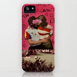 LOVE-AMOR, boy and girl kissing in front of a lake iPhone Case