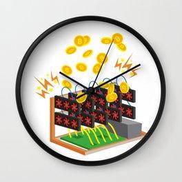 Bitcoin BTC Mining Cryptocurrency Design Wall Clock