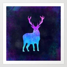 DEER IN SPACE // Animal Graphic Art // Watercolor Canvas Painting // Modern Minimal Cute Art Print