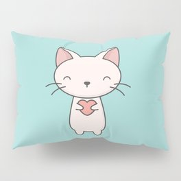 Kawaii Cute Cat With Heart Pillow Sham