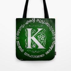 Joshua 24:15 - (Silver on Green) Monogram K Tote Bag