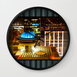 Yesterday's Future - Classic Atlanta Skyline At Night Wall Clock