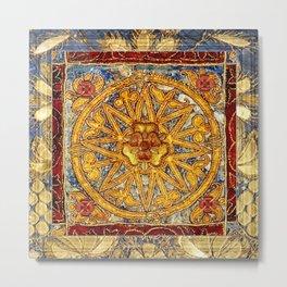 Medieval Tudor Rose Pattern Metal Print