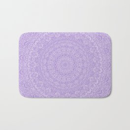 The Most Detailed Intricate Mandala (Violet Purple) Maze Zentangle Hand Drawn Popular Trending Bath Mat