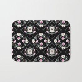 Floral Tiles Black Bath Mat