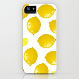 Lemon Pattern Home Decor Wall Hanging Art Print Modern Graphic Design Yellow White Interior iPhone Case
