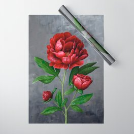 Red Peony Flower Painting Wrapping Paper