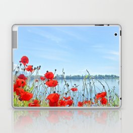 Red poppies in the lakeshore Laptop & iPad Skin