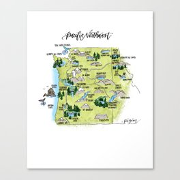 Pacific Northwest Illustrated Map Canvas Print