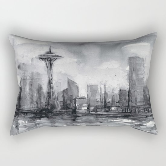 Seattle Skyline Painting Watercolor Black and White Space Needle Rectangular Pillow
