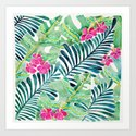 Lush Tropical Fronds & Hibiscus by catcoq