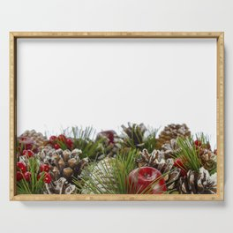 Christmas Decorative Wreath on White Background Serving Tray