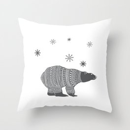 Polar bear - Animal watercolor illustration Throw Pillow