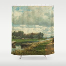 Landscape in the Environs of The Hague - Willem Roelofs (I) (1870-1875) Shower Curtain