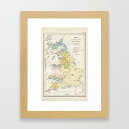 Vintage Map of the Coal Fields of Great Britain Framed Art Print