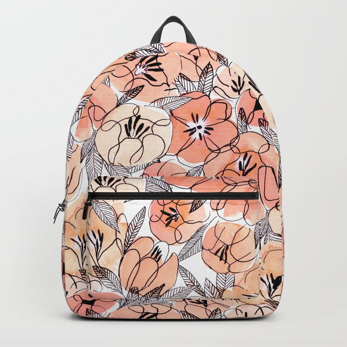 Pink Inky Floral - Watercolor Flowers - Ink Backpack