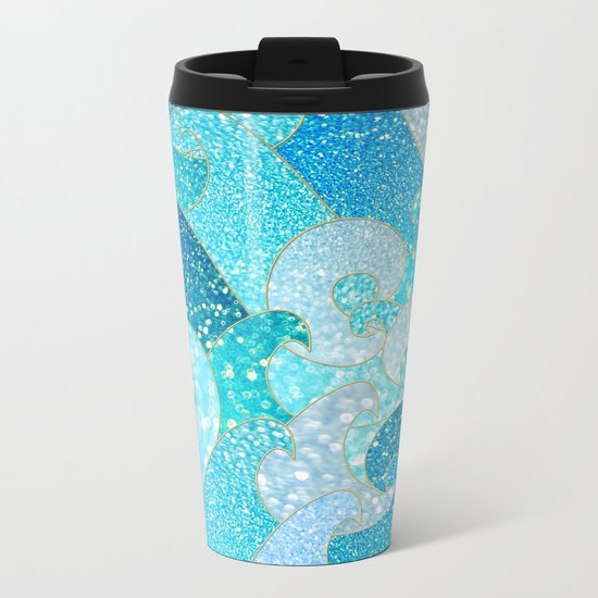 Mermaid Waves and Sea Faux Glitter, Sun Light over the Ocean 1 Metal Travel Mug