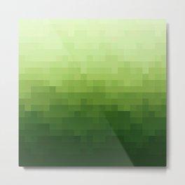 Gradient Pixel Green Metal Print