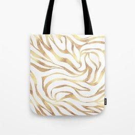 Elegant Gold Glitter Zebra White Animal Print Tote Bag