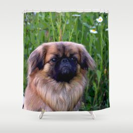 Lion Dog Shower Curtain