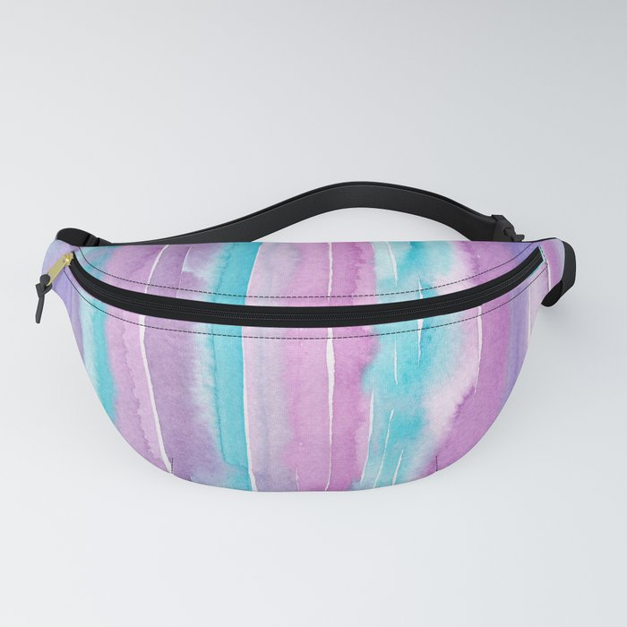 Watercolor Stripes - Purple and Turquoise Fanny Pack