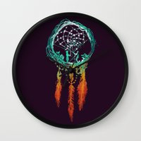 queens of the stone age Wall Clocks featuring Dream Catcher (the rustic magic) by Picomodi