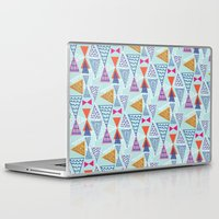 mid century modern Laptop & iPad Skins featuring Geometric Mid Century Modern Triangles 2 by Ryan Deighton