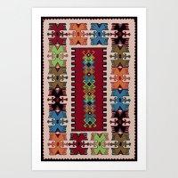 kilim Art Prints featuring Kilim pattern 026 by Ranka Stevic