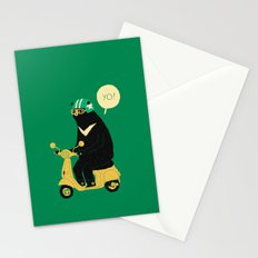 scooter bear green Stationery Cards